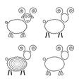 set sketch sheep like symbol 2015 year vector image