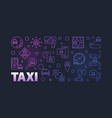 taxi concept linear colored horizontal banner or vector image