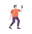 tourist with smartphone composition vector image vector image