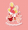 two cartoon pigs on a birthday hat vector image