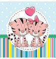 two cute cartoon tigers vector image vector image