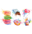 Watercolor confectionery set icon collection with vector image vector image