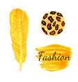 watercolor fashion set in yellow color leopard vector image