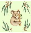 Watercolor Koala and the eucalyptus branches vector image vector image