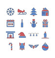 winter and holidays icon set in filled line style vector image
