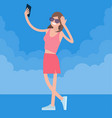 woman making selfie photo vector image
