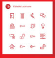 16 lock icons vector image vector image