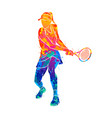 abstract tennis player with a racket from splash vector image vector image