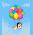 baby girl falling down on bunch of helium vector image