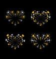 beautiful heart-fireworks set bright romantic vector image vector image