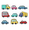 big set hand drawn cute cartoon cars for kids vector image vector image