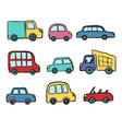 big set of hand drawn cute cartoon cars for kids vector image