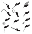 black silhouette of hans with various tools eps10 vector image vector image