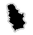 black silhouette of the country serbia with the vector image vector image