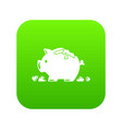 broken piggy bank icon green vector image vector image