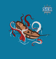 broken sailer with kraken on blue background vector image vector image
