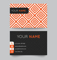 Business card template orange and white pattern vector image vector image