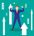 businessman among upward arrows vector image vector image