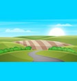 cartoon landscape sun cloud hill vector image vector image