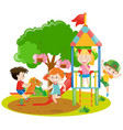 children playing in the backyard vector image vector image
