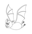 colorless funny cartoon halloween bat flying vector image vector image