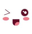 comic kawaii face emoticon vector image vector image
