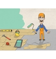 Complete house overhaul worker vector image