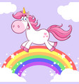cute magic unicorn cartoon character running vector image