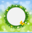 easter card with grass and flowers vector image vector image