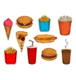 Fast food pizza sandwiches desserts and drinks vector image vector image