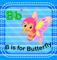 flashcard letter b is for butterfly vector image vector image