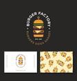 flat burger factory logo restaurant emblem pattern vector image vector image
