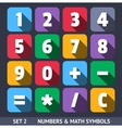 Flat Numbers and Mathematical Symbols vector image