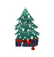 flat style christmas tree and pile of presents vector image