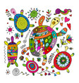 funny family turtle with chidren sketch for your vector image vector image