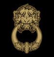gold lion head door knocker on black background