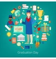 Graduation Day Party Icons Set vector image vector image