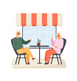 happy elderly couple sitting at table summer vector image vector image
