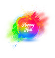 happy holi typography poster print greeting card vector image vector image