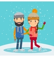 Happy winter time Young couple skates vector image vector image