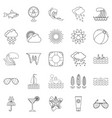 island life icons set outline style vector image vector image