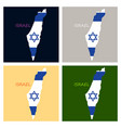 israel map painted in the color of the flag vector image vector image