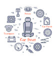 linear round banner of car seat in center vector image vector image