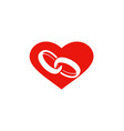 love heart ring couple logo vector image vector image