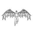 man with mechanical wings sketch vector image