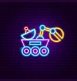 moon rover neon label vector image