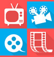 movie icons in four backgrounds vector image vector image