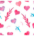 pink watercolor painted hearts seamless pattern vector image vector image