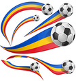 romania flag set with soccer ball vector image