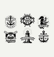 sailing cruise logo or label marine concept set vector image